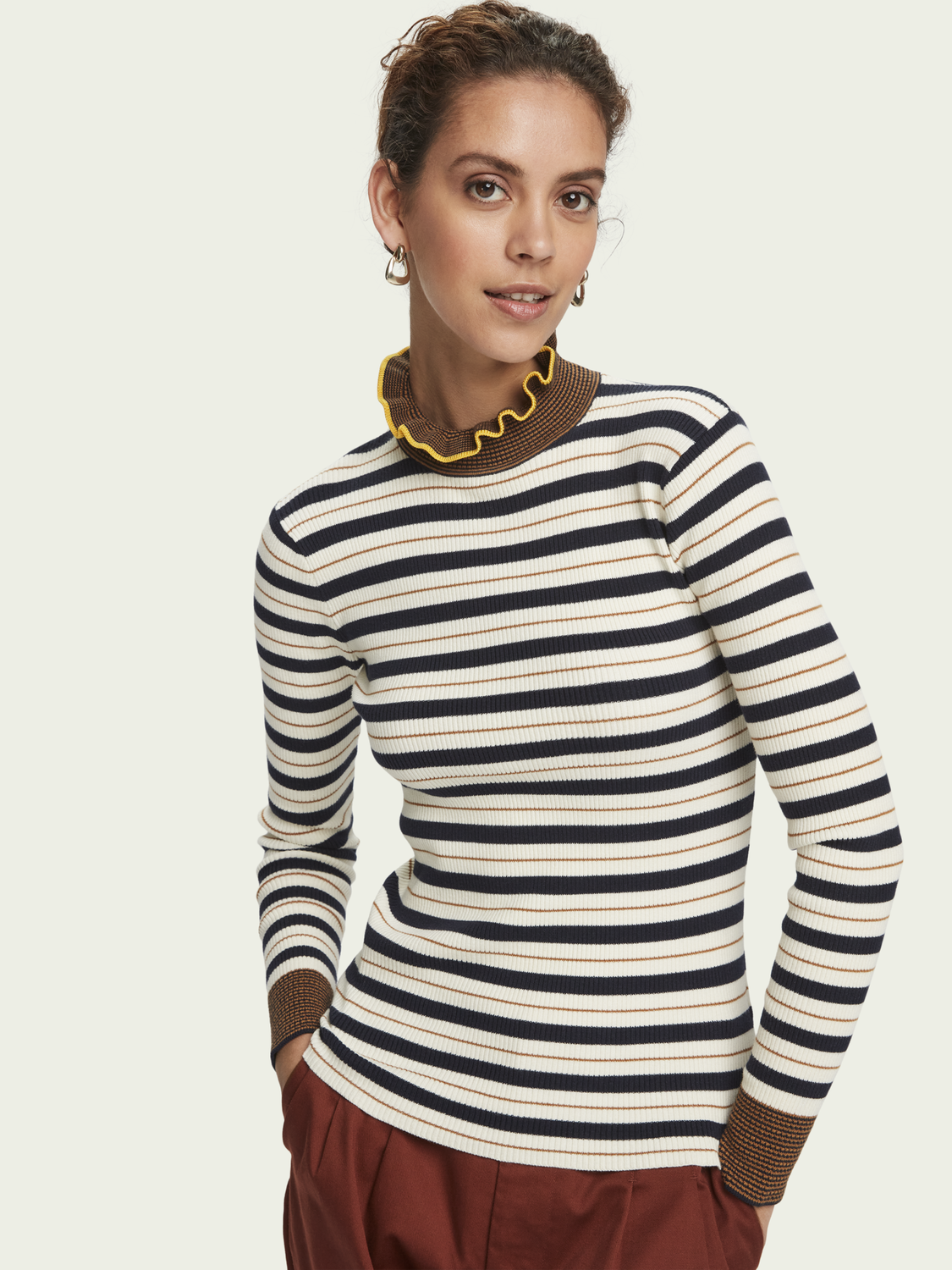 Women 100% cotton striped rib knit turtleneck