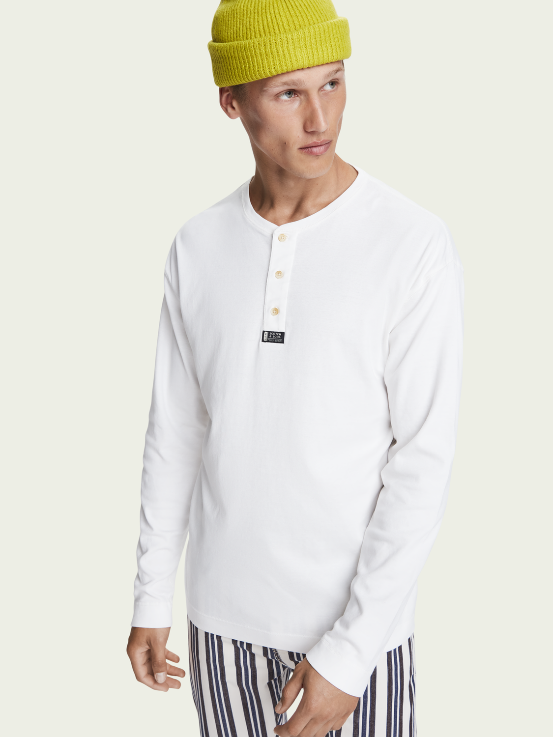 Men 100% cotton long sleeve grandad tee