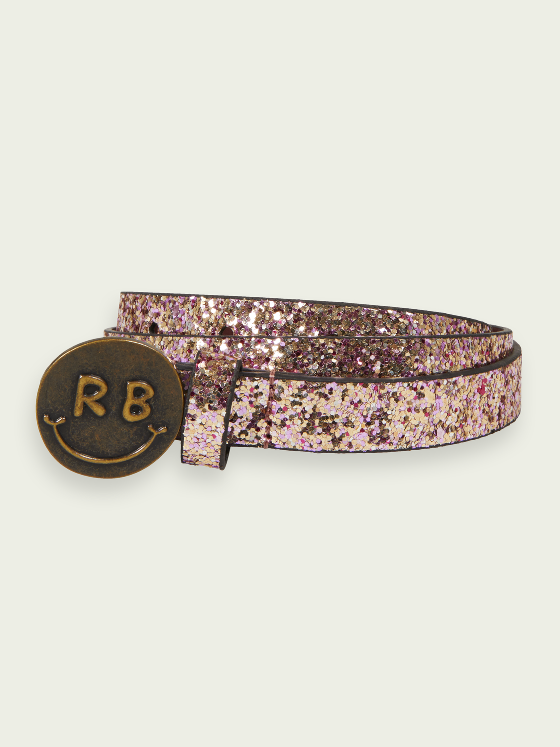 Kids Glitter belt with happy face buckle