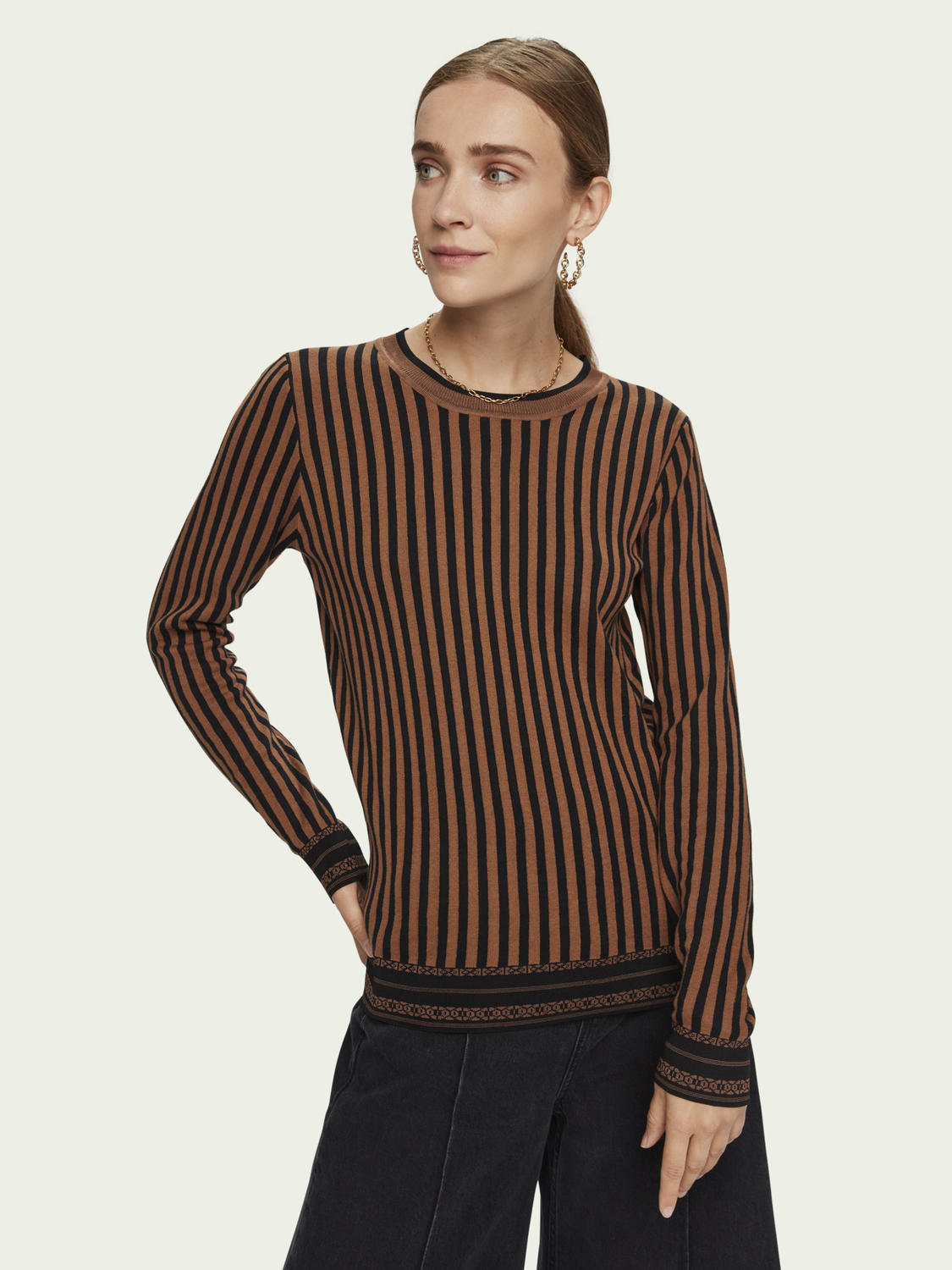 Women Cotton striped pullover