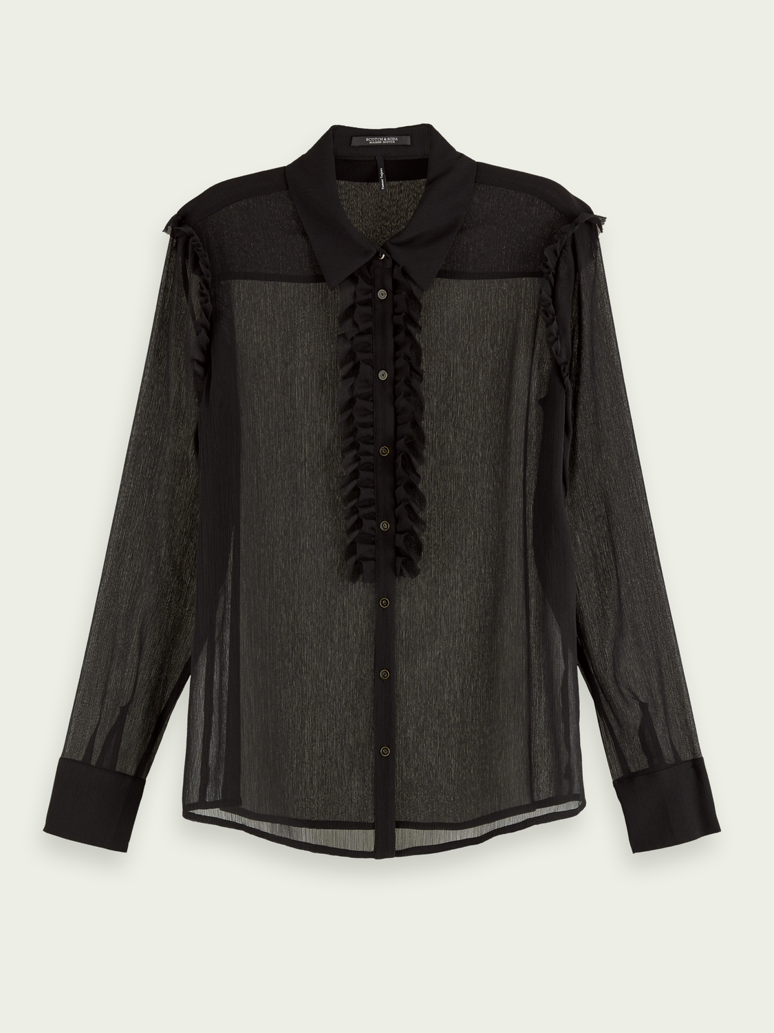 Women Sheer long sleeve button-down shirt