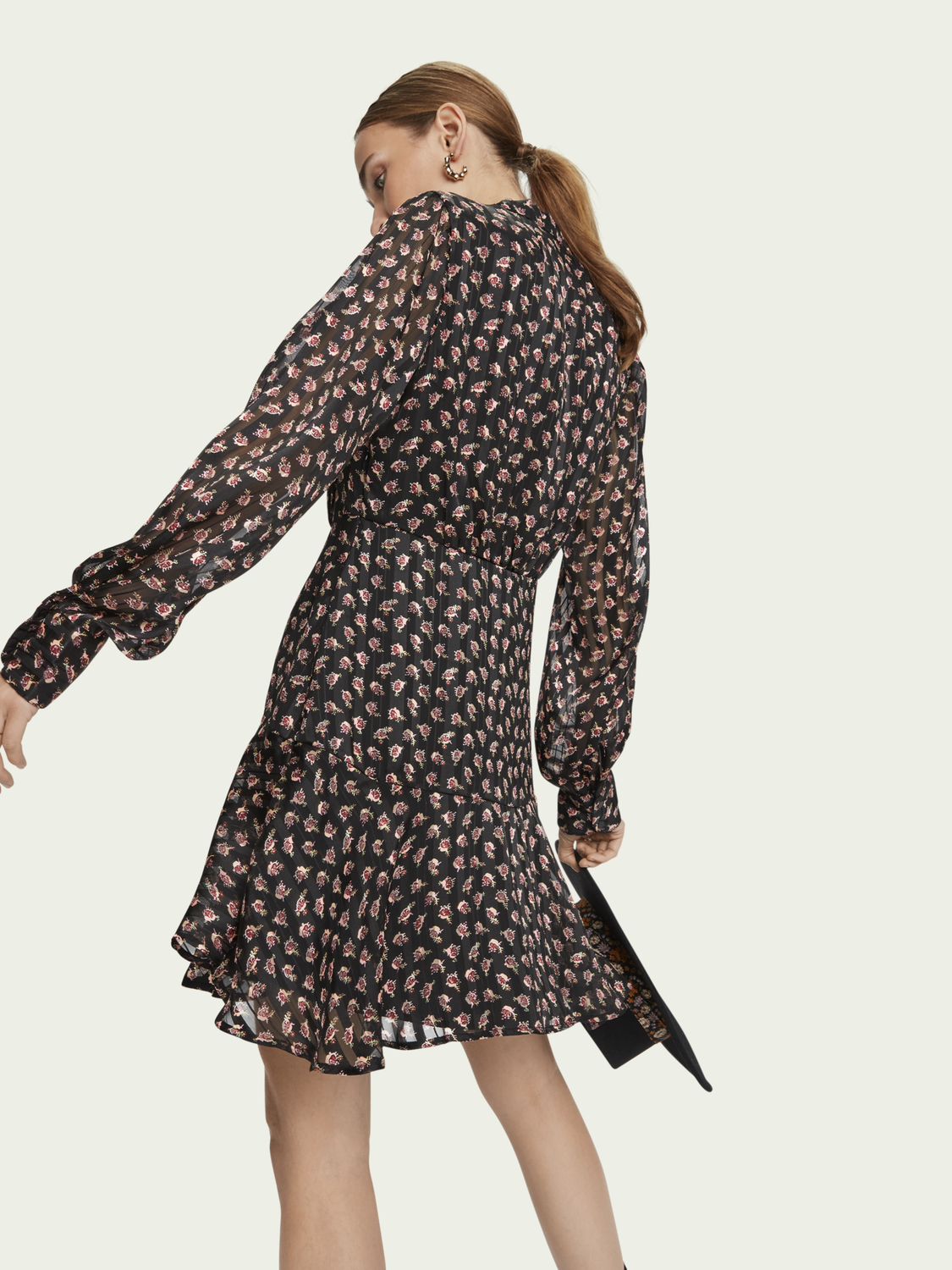 Women Long sleeve sheer stripe floral print dress