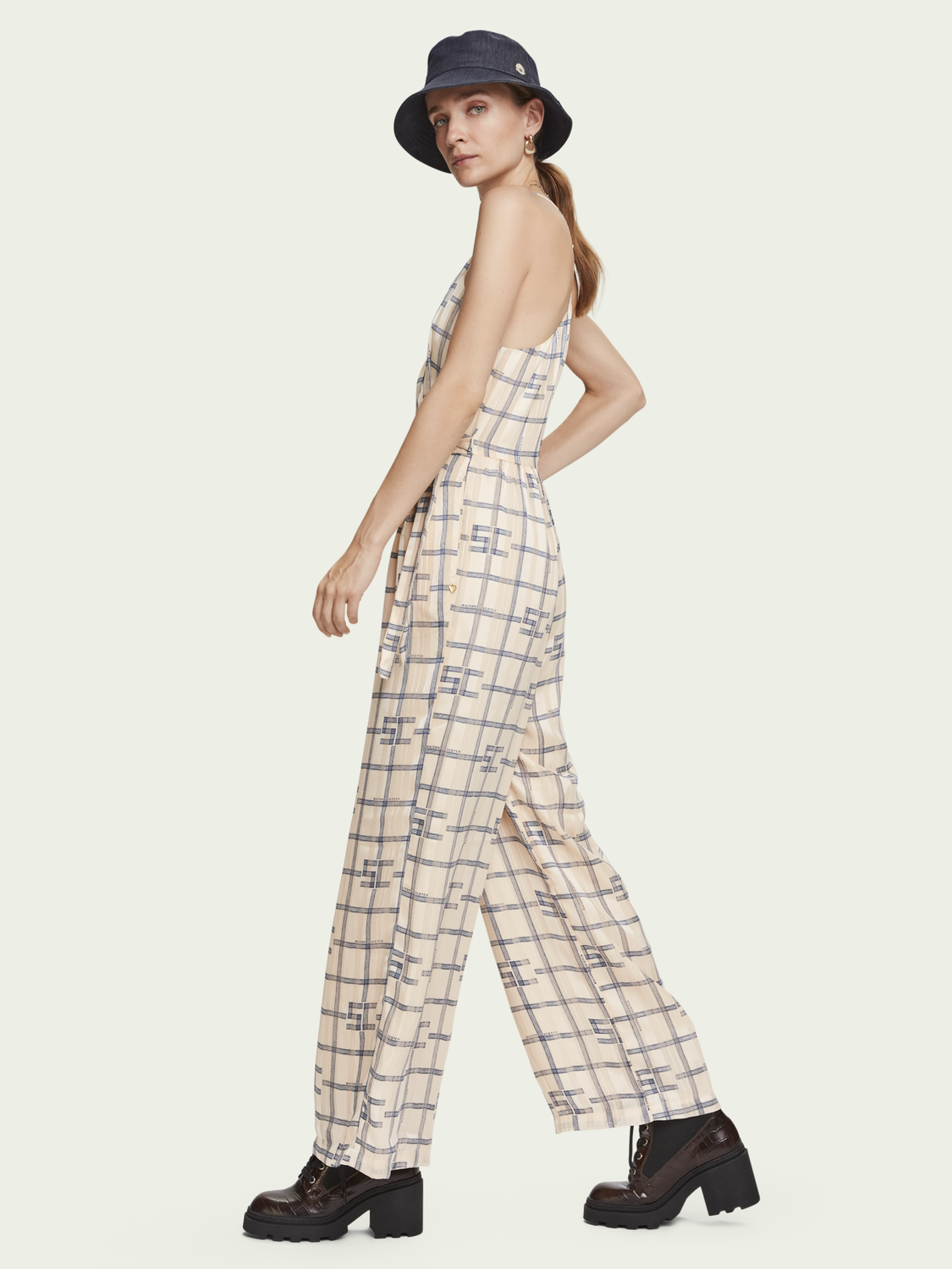 Women High waisted wide-leg printed jumpsuit