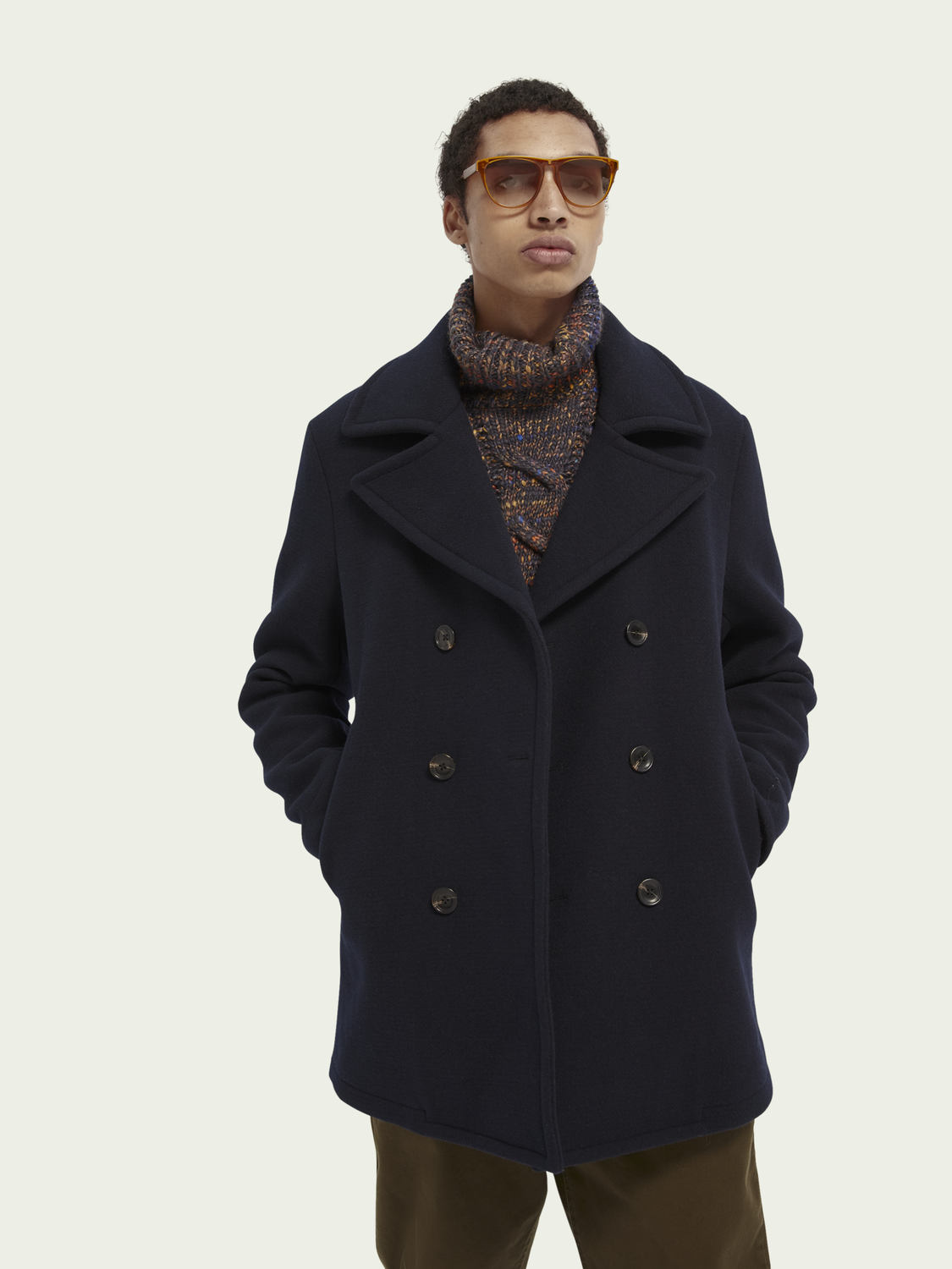 Men Classic double-breasted peacoat
