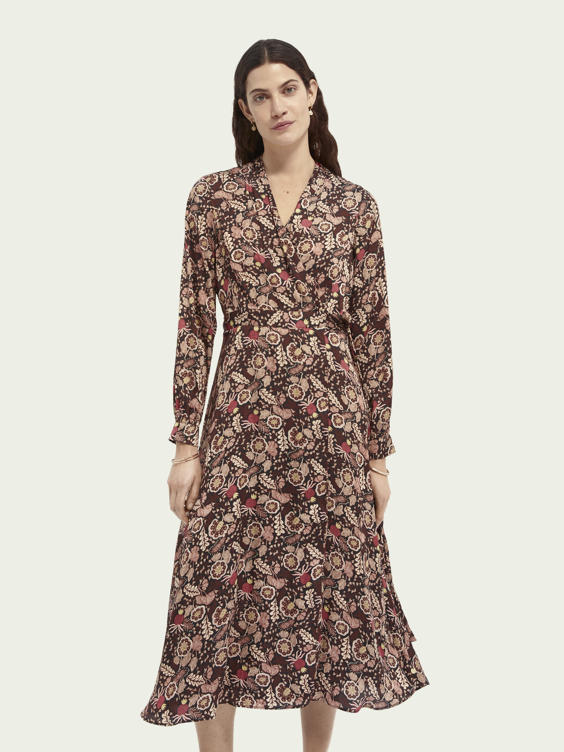 Women Floral print belted midi wrap dress