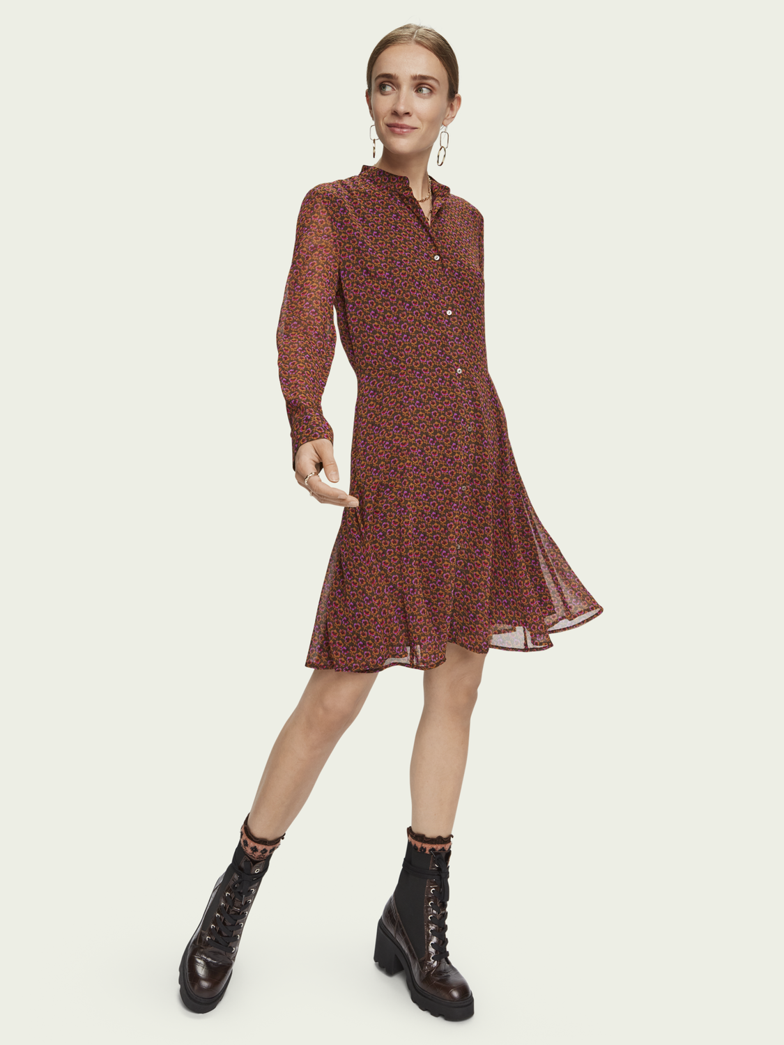 Robe Drapee A Manches Longues Style Peplum Robes Habillement Femme Scotch Soda