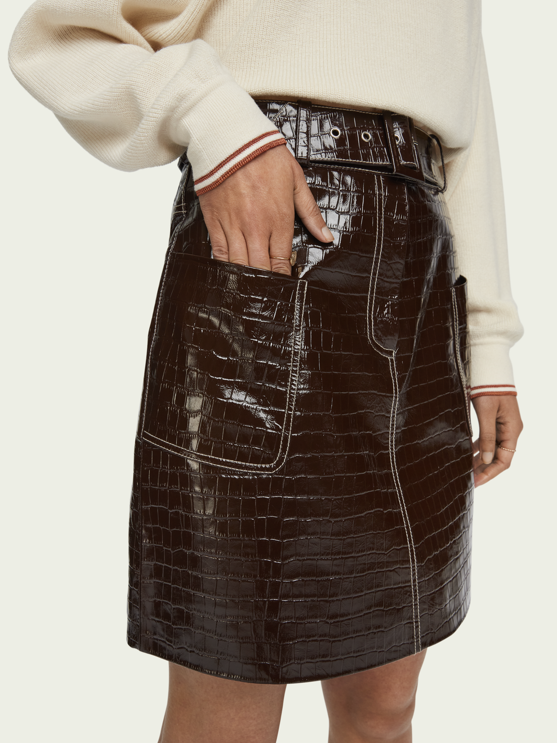 Women Belted patent leather croc-effect mini skirt