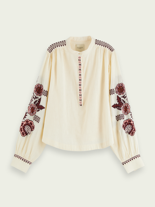 Scotch & Soda EMBROIDERED VOLUMINOUS TOP