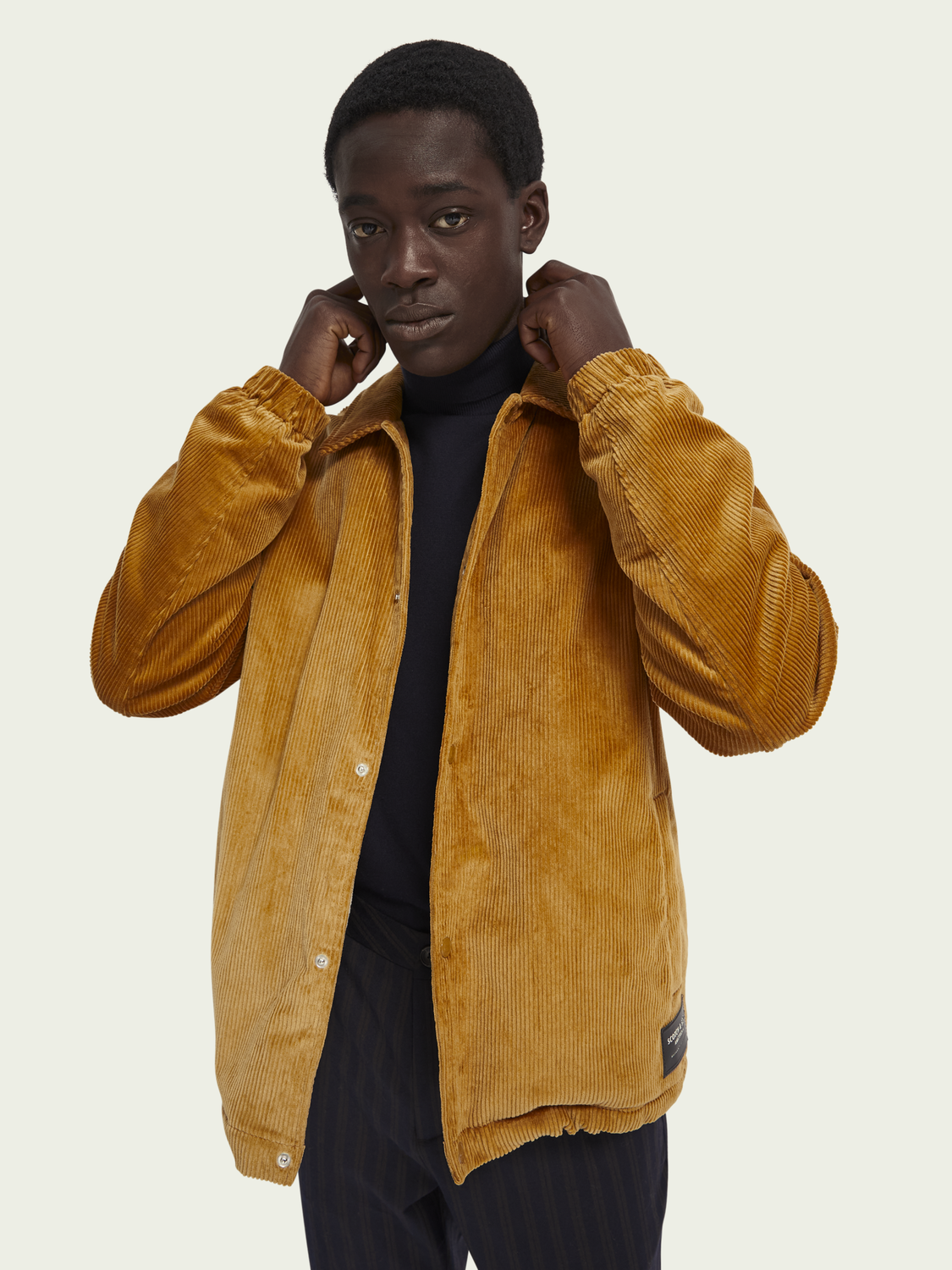 Men Sherpa-lined cotton corduroy jacket
