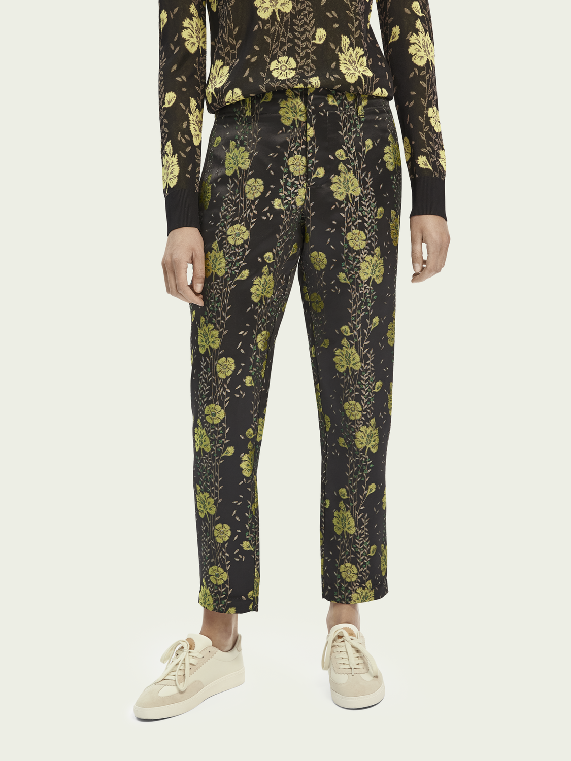 Women Floral jacquard tailored pants