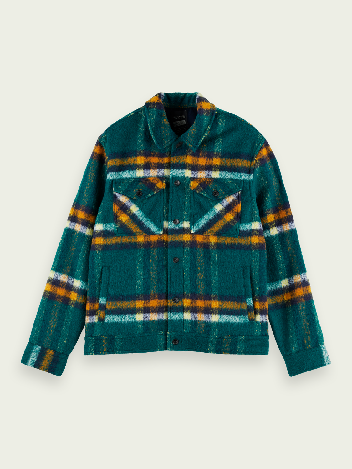 Men Checked wool-blend trucker jacket