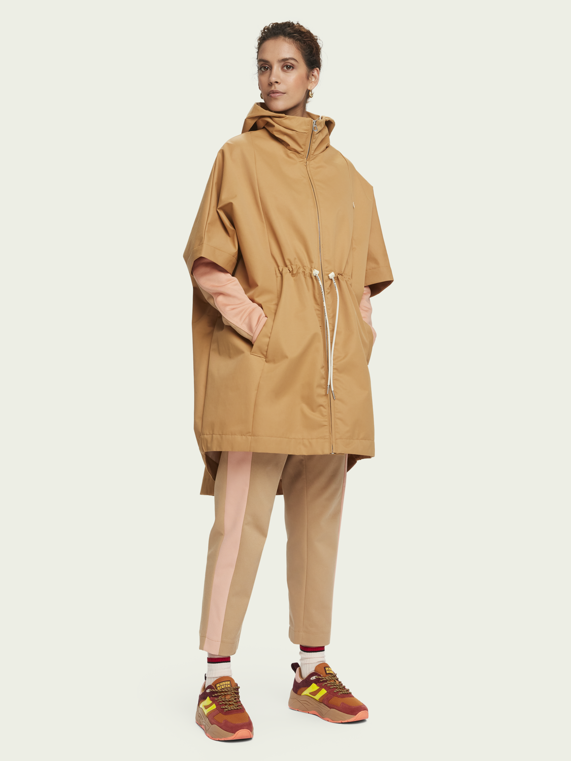 Women Cotton-blend oversized short sleeve poncho jacket