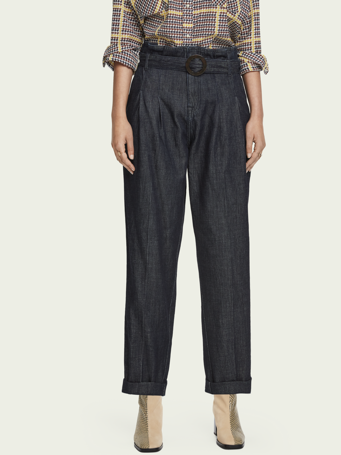 Women Cotton-blend high-rise belted chino