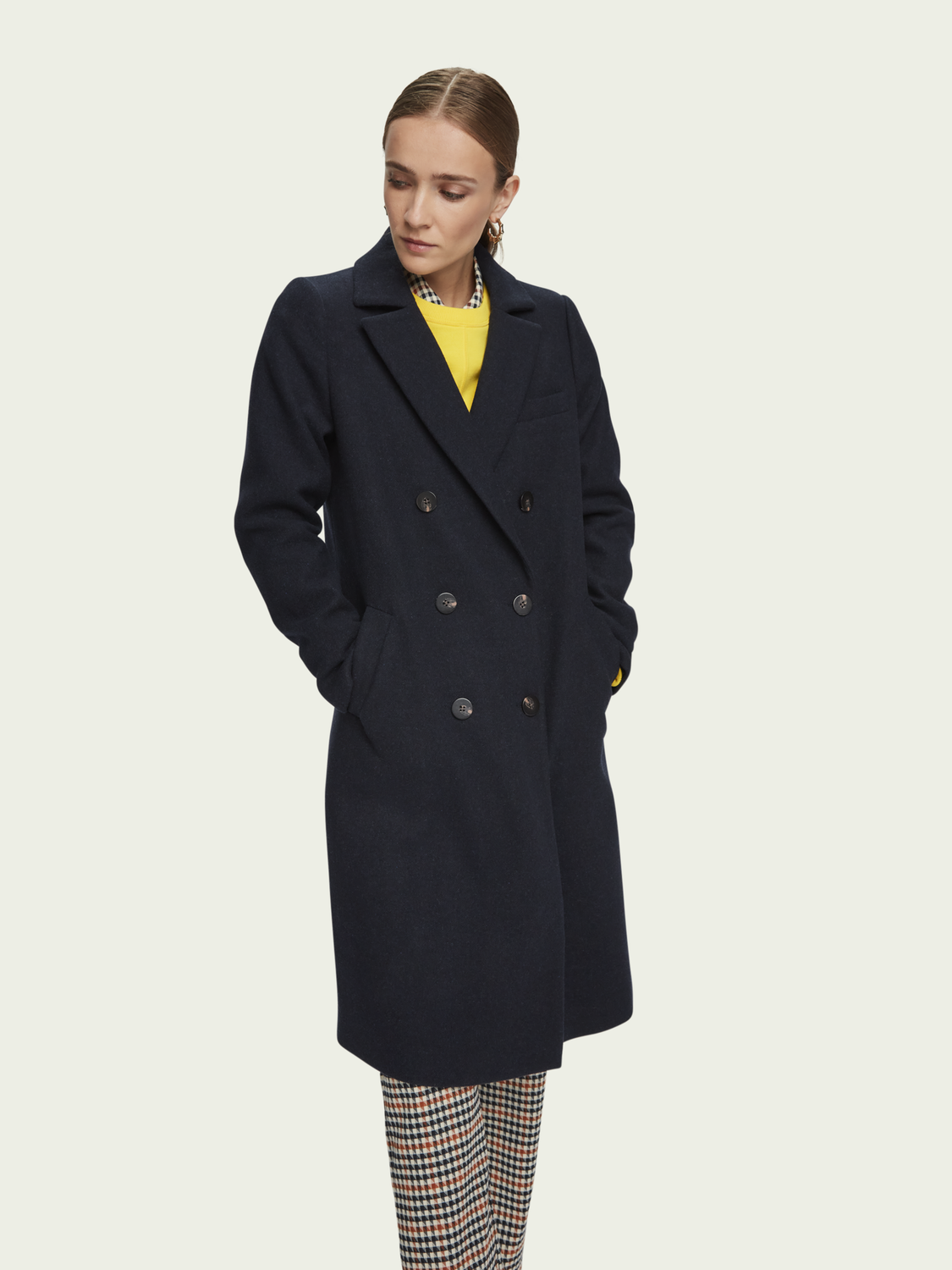 Damen Wool-blend double breasted tailored coat