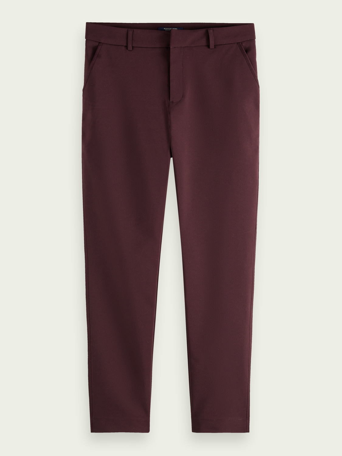 Women Cotton-blend stretch tailored pants with contrast binding