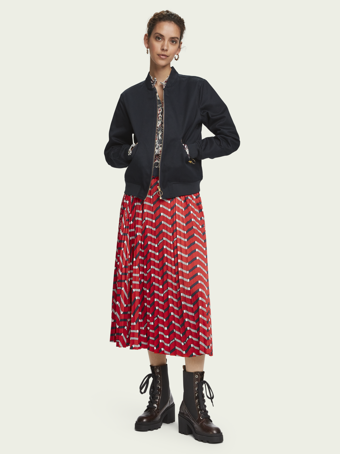 Women Printed pleated midi skirt
