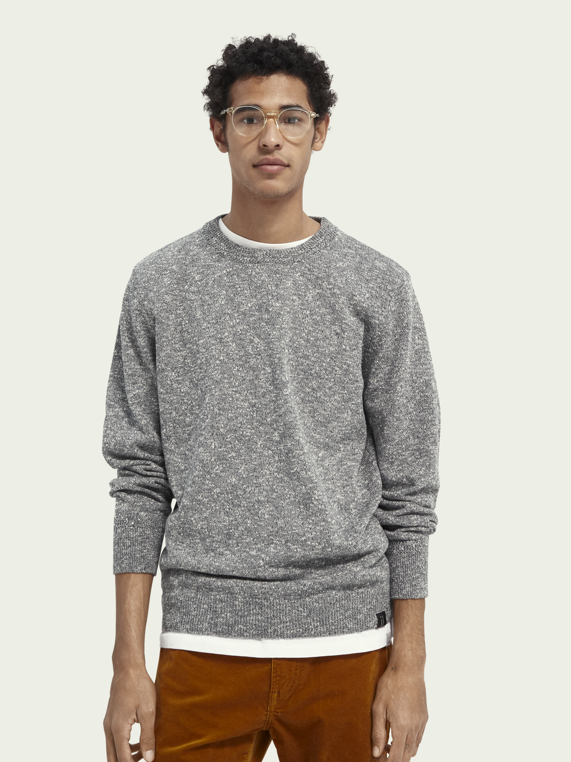 Men Recycled cotton blend crewneck sweater