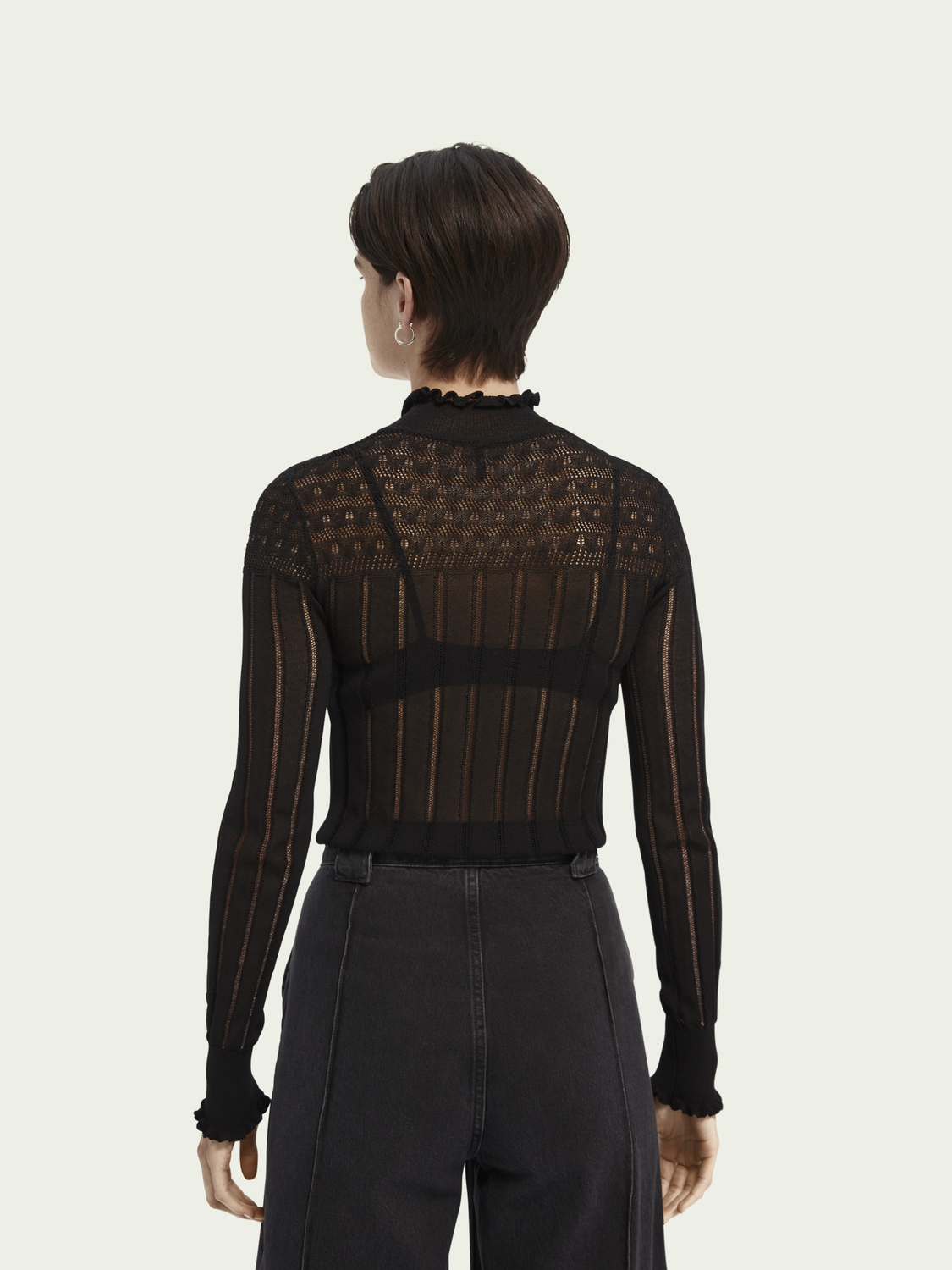 Women Sheer long sleeve layering knit