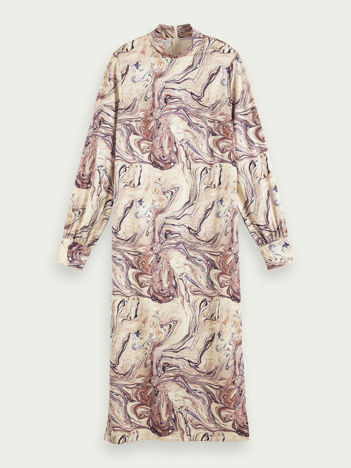 Women Marbled high neck midi dress