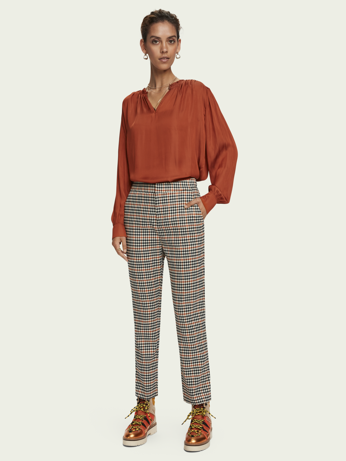 Women High waist houndstooth checked straight leg pants