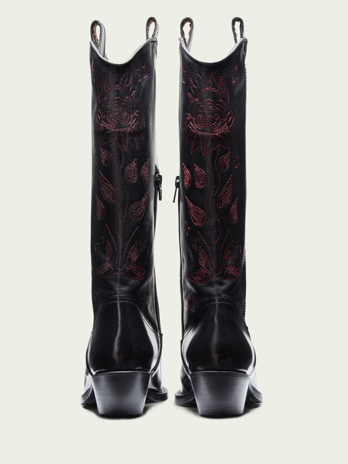 Women Corall - leather stitched cowboy boots