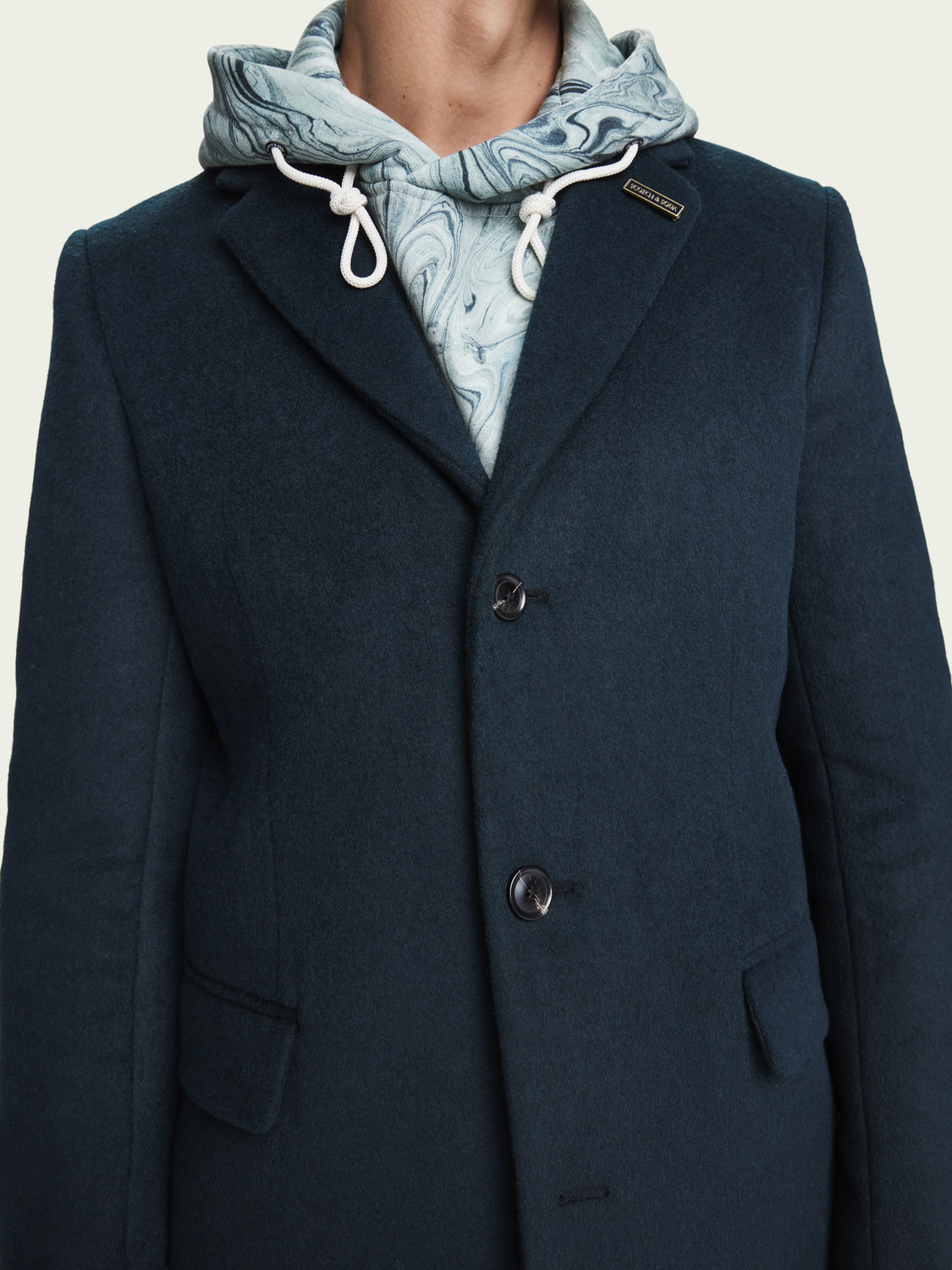 Men Classic wool-blend single breasted overcoat