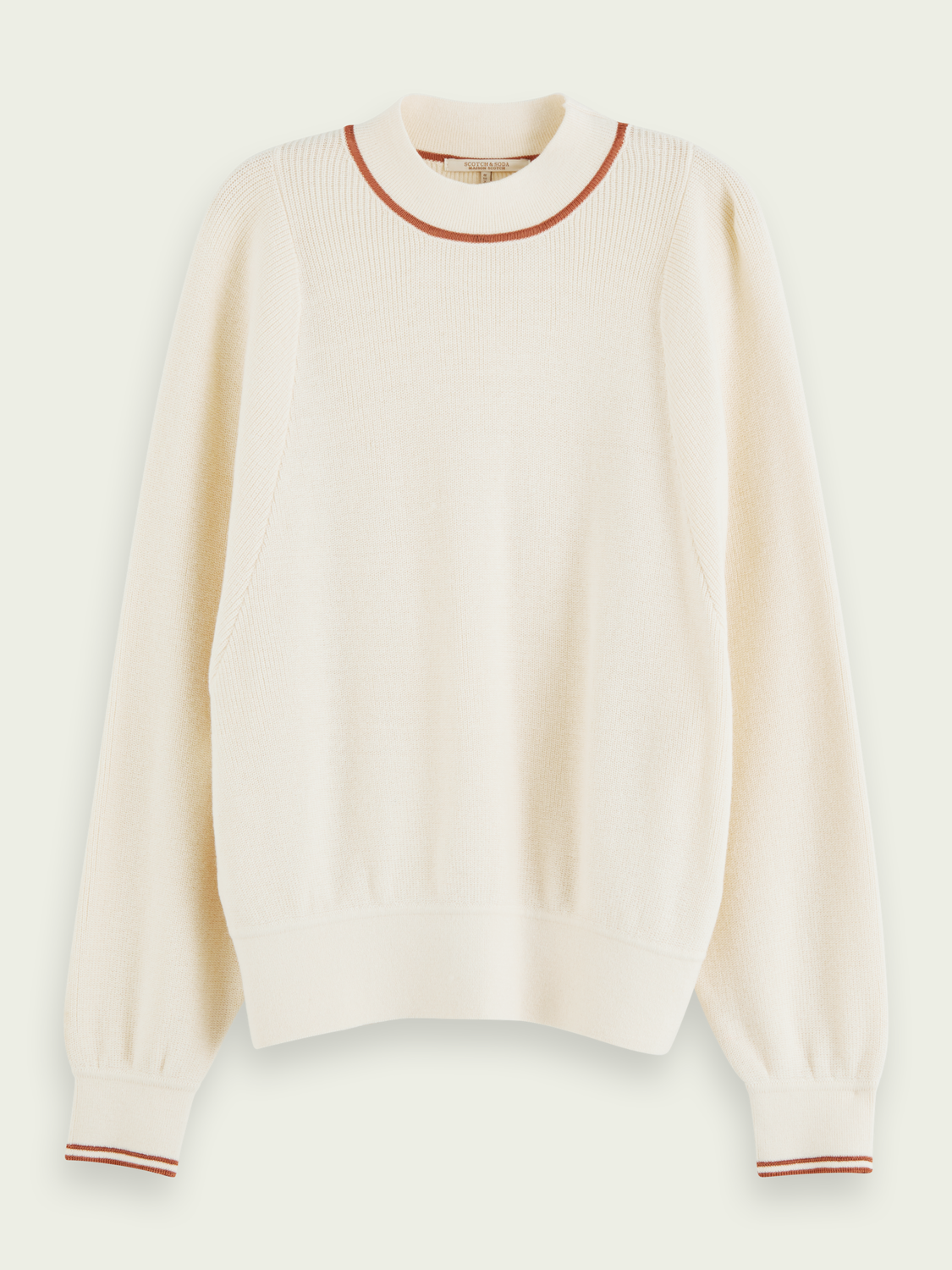 Women Wool-blend high crew neck pullover