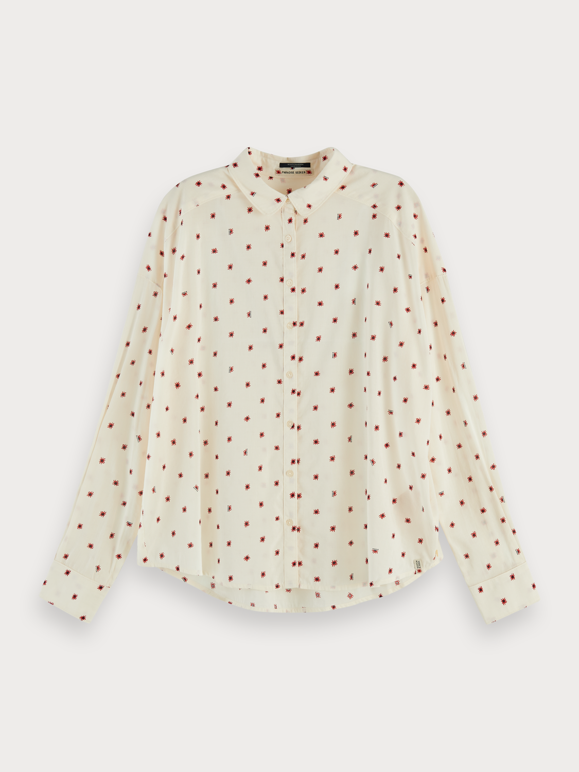 Dames Round collar cotton-blend long sleeve shirt