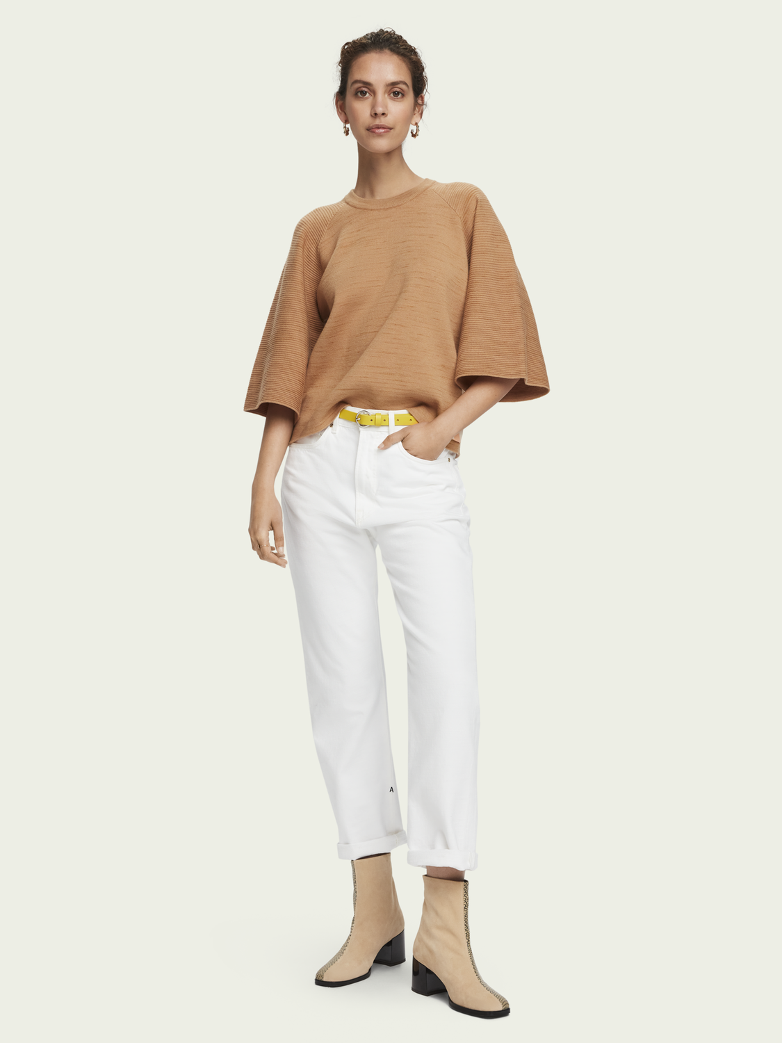 Women Cotton-blend ¾ sleeve knitted pullover