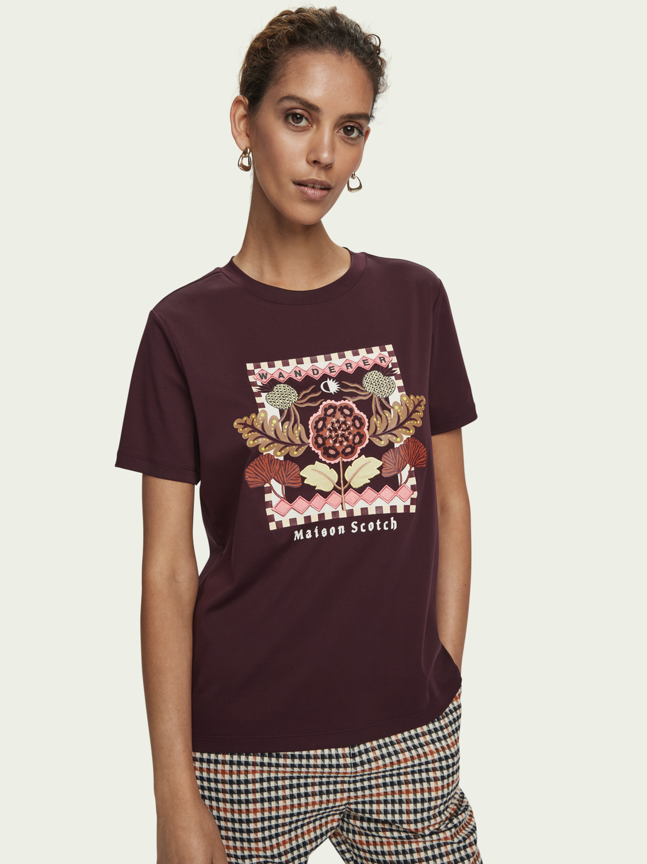 Damer Kortärmad t-shirt i bomull med broderi