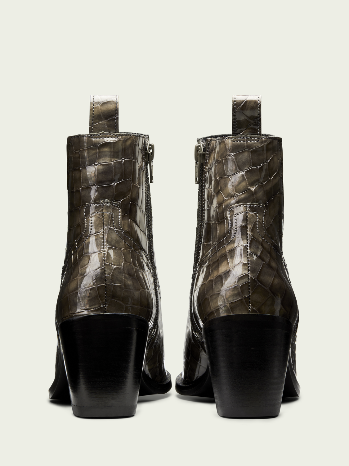 Women Abbey - leather snake-effect ankle boots