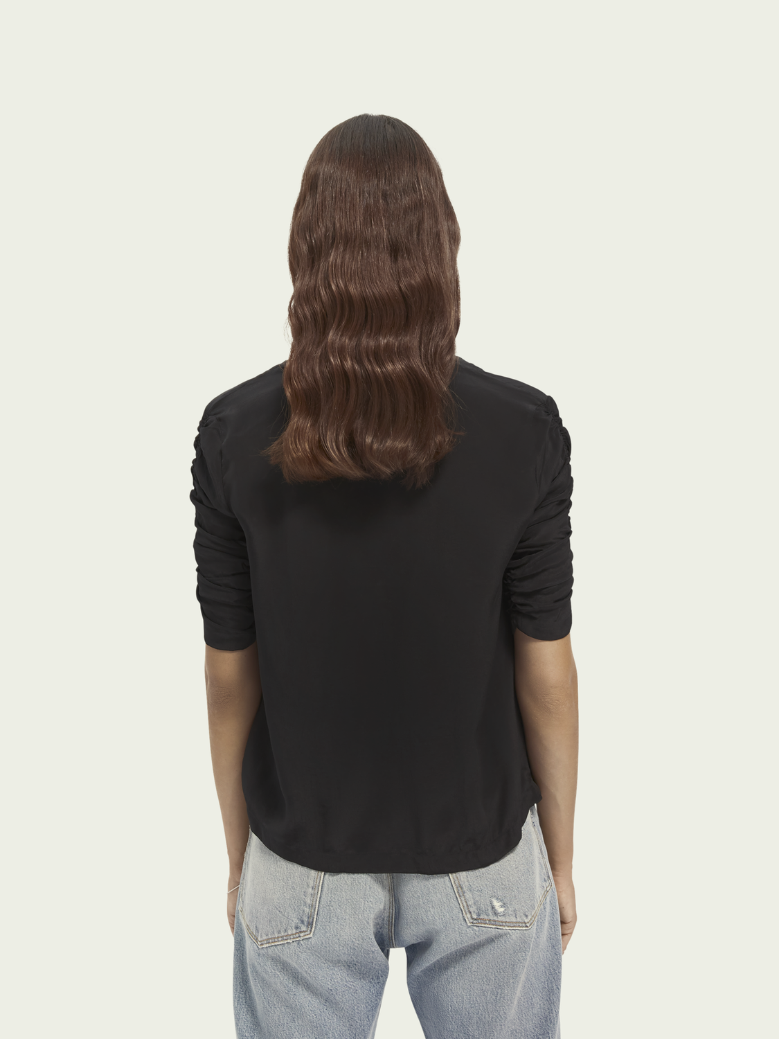 Women V-neck rouch sleeve top