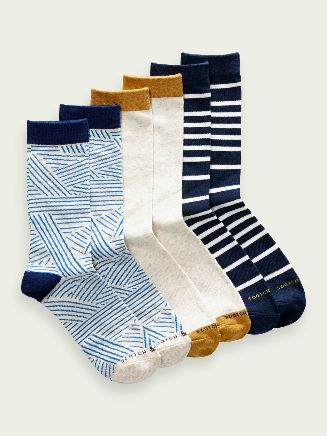 Men 3-pack cotton-blend crew socks