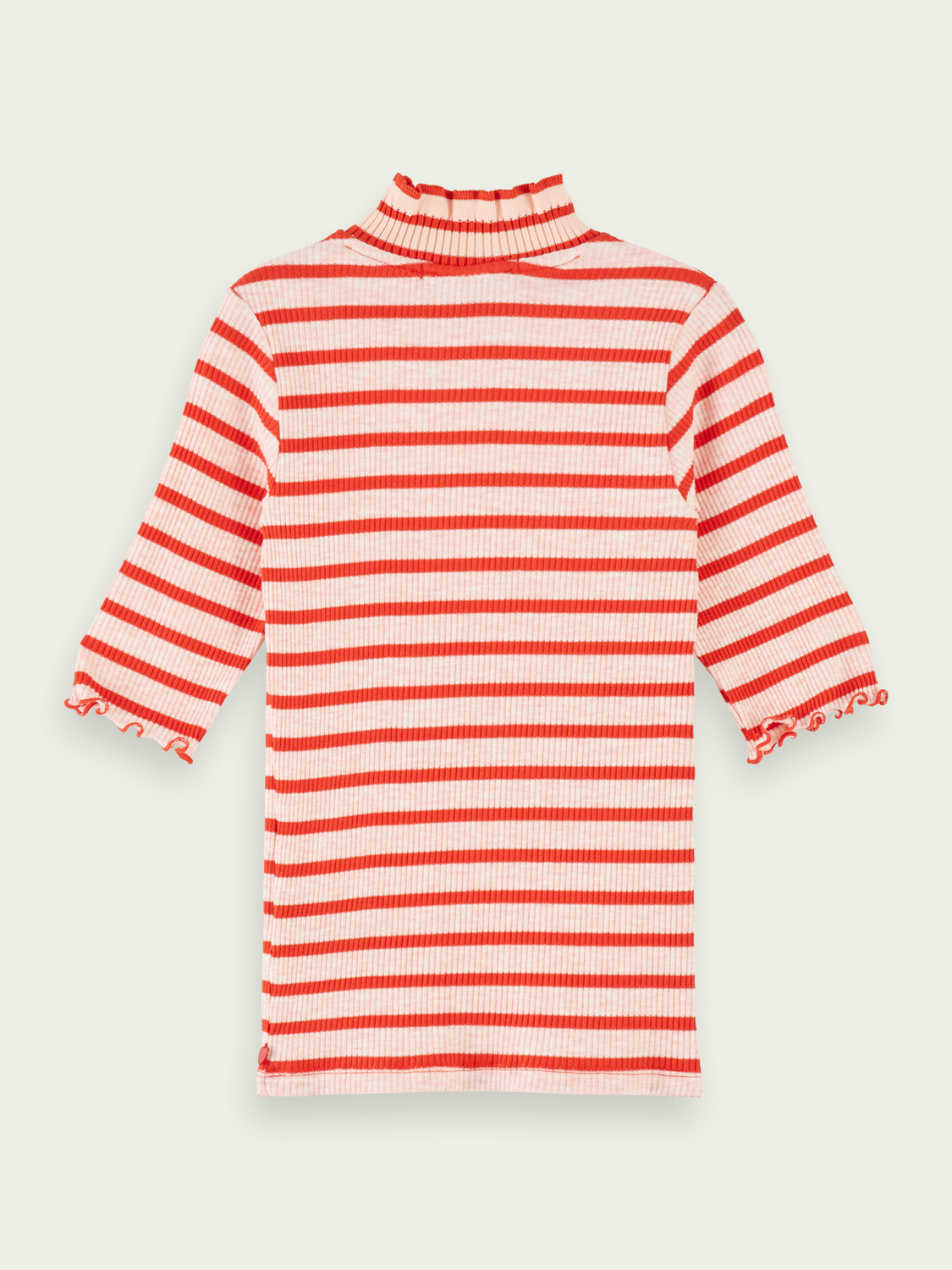Kids Cotton-blend high neck ¾ sleeve t-shirt