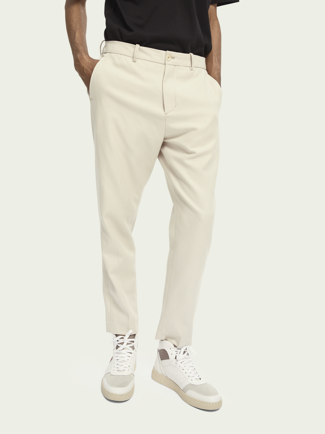 Heren FAVE – Relaxed chino van wol-katoenmix   Tapered fit