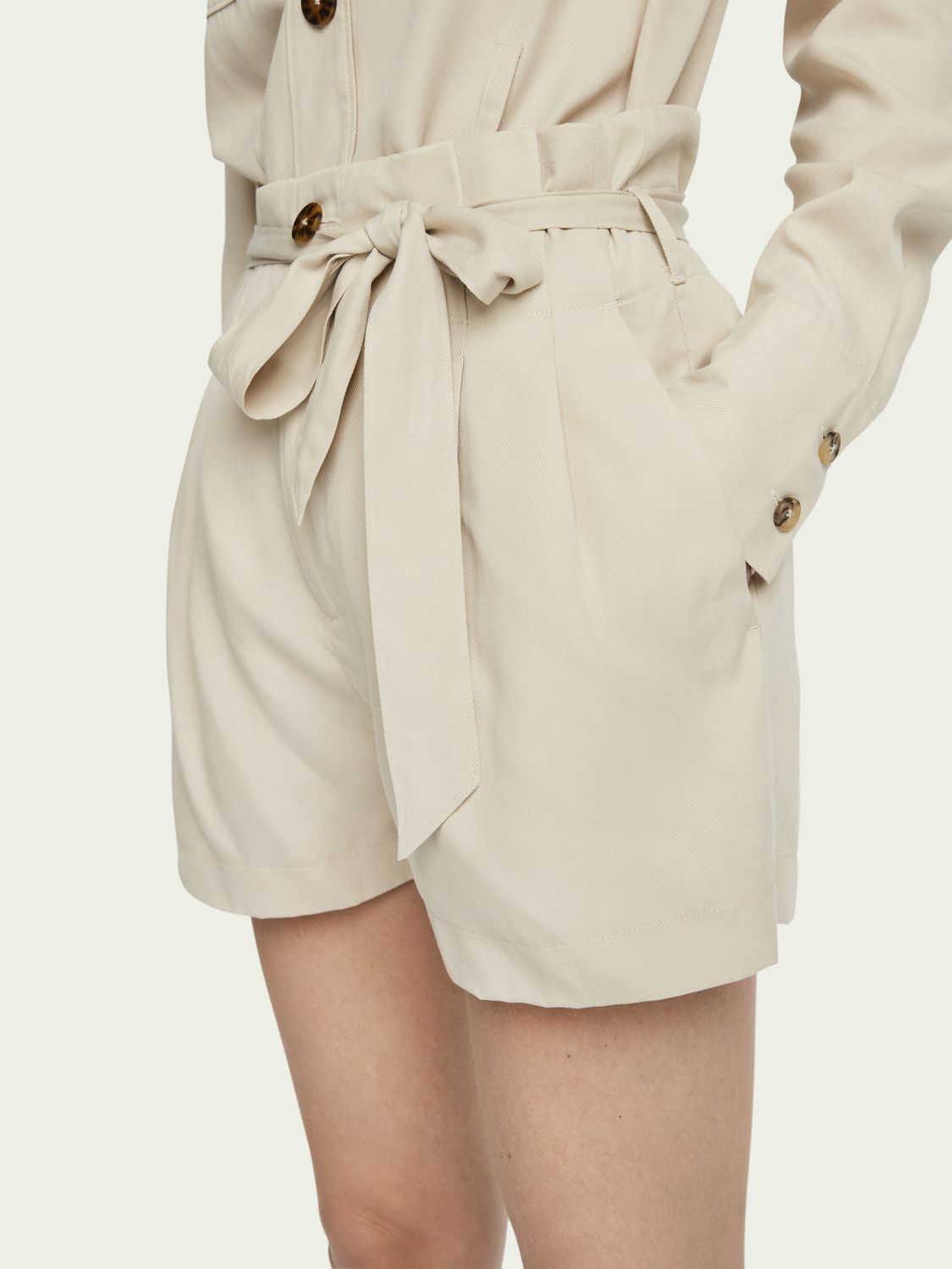 Women Drapey mid-rise belted paper bag shorts
