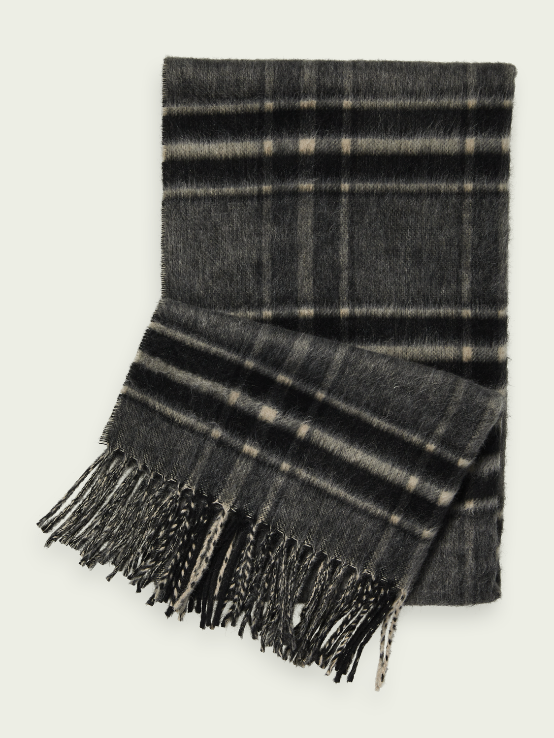 Men Fluffy wool-blend scarf