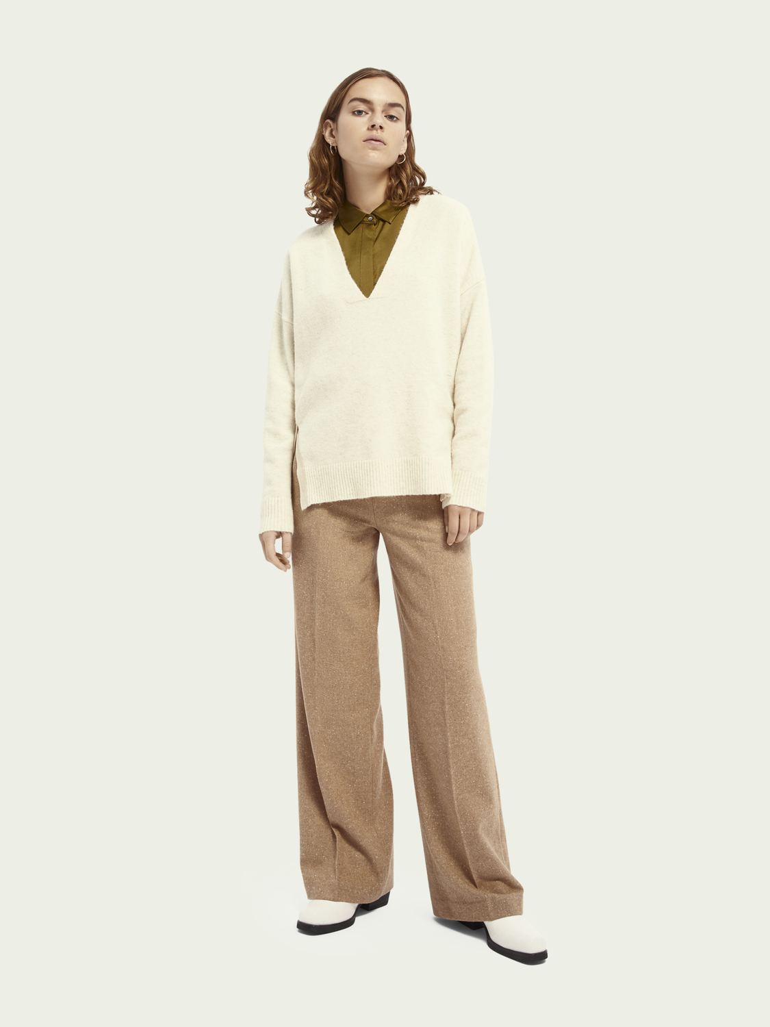 Women Wide leg wool-blend pants
