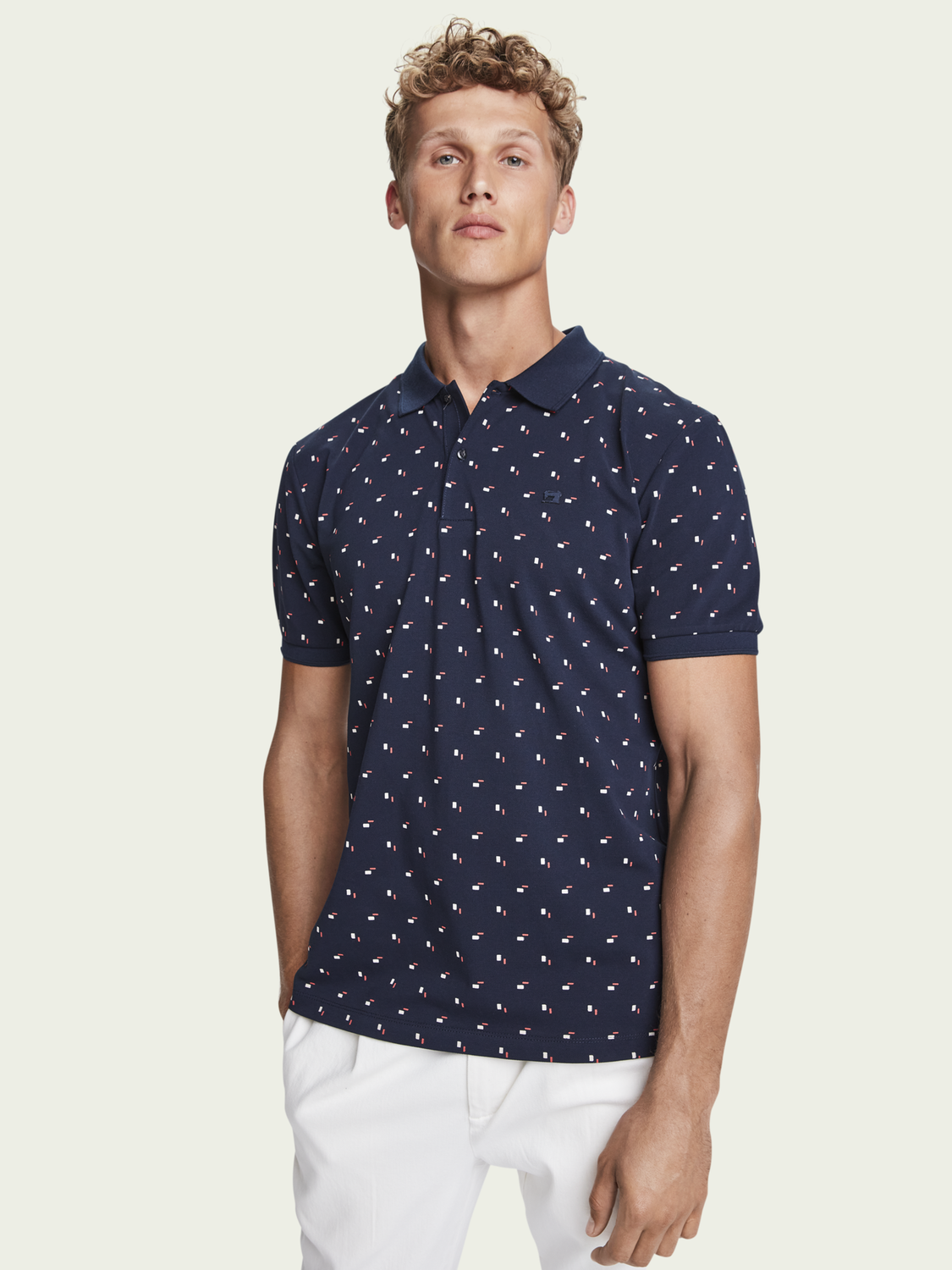 Men Patterned cotton-pique polo shirt