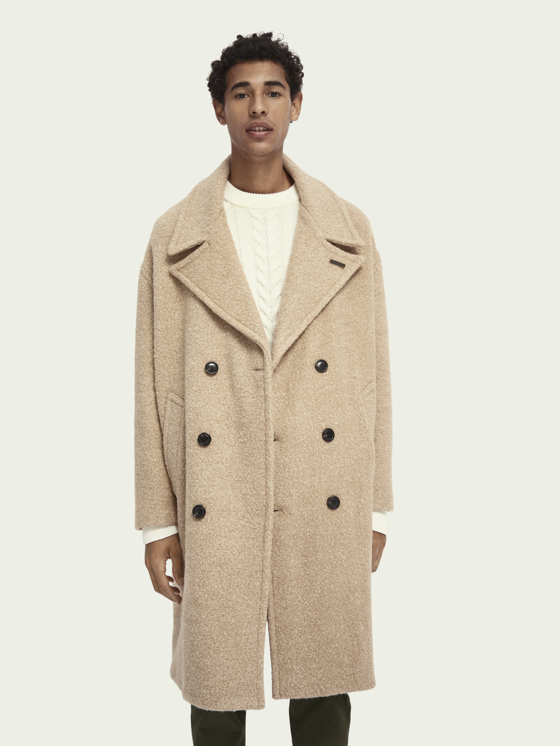 Men Double-breasted boucle coat in oversize cut