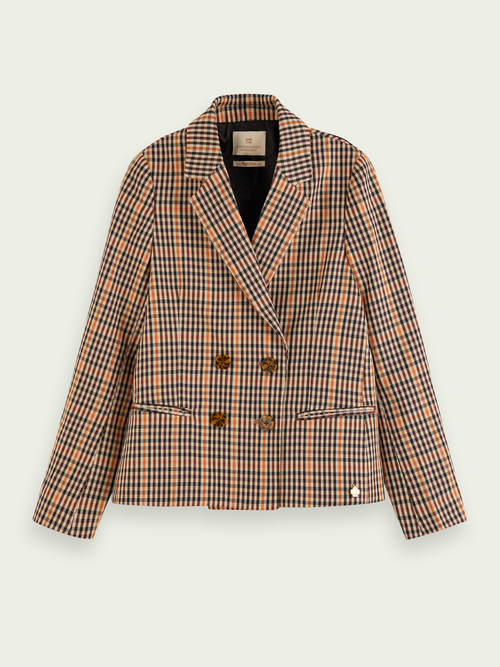 Scotch & Soda COTTON-BLEND DOUBLE-BREASTED CHECKED BLAZER