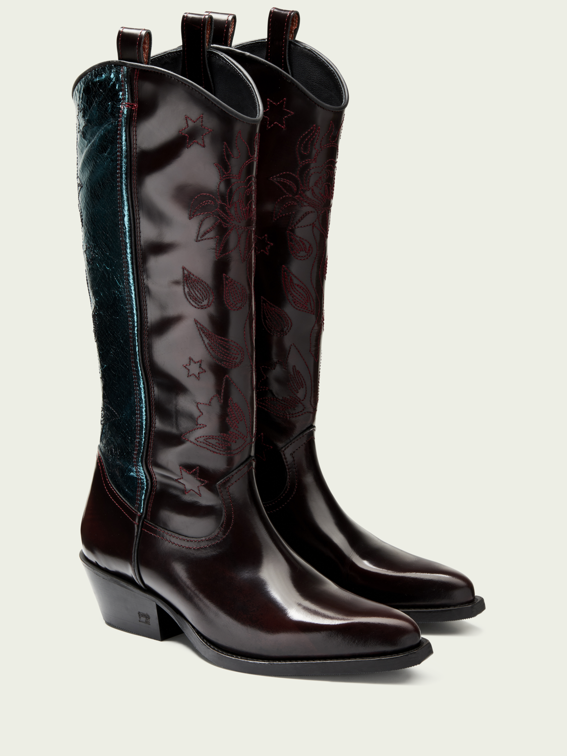 Women Corall - tall leather cowboy boots