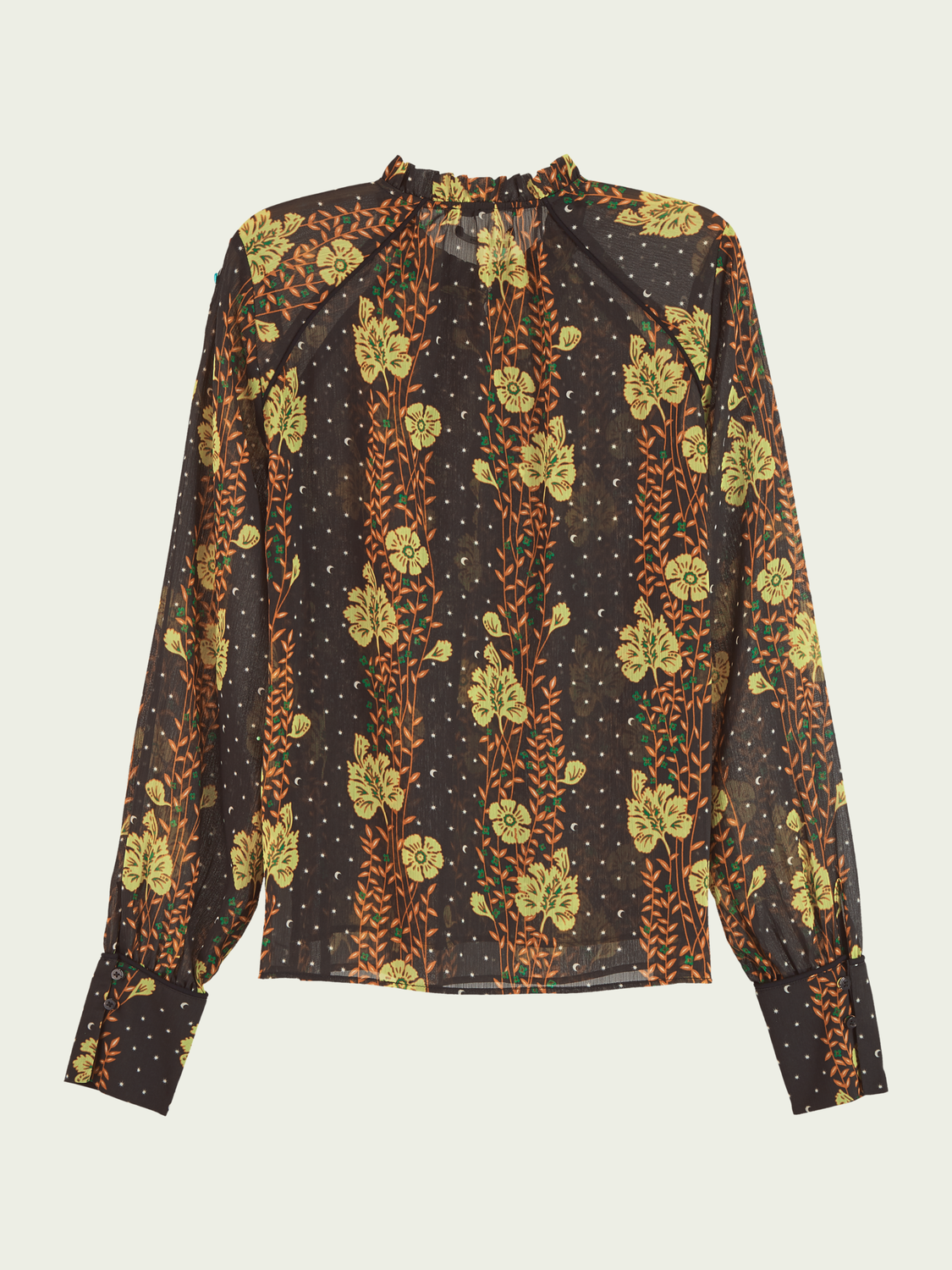 Women Printed long sleeve top with piping detail
