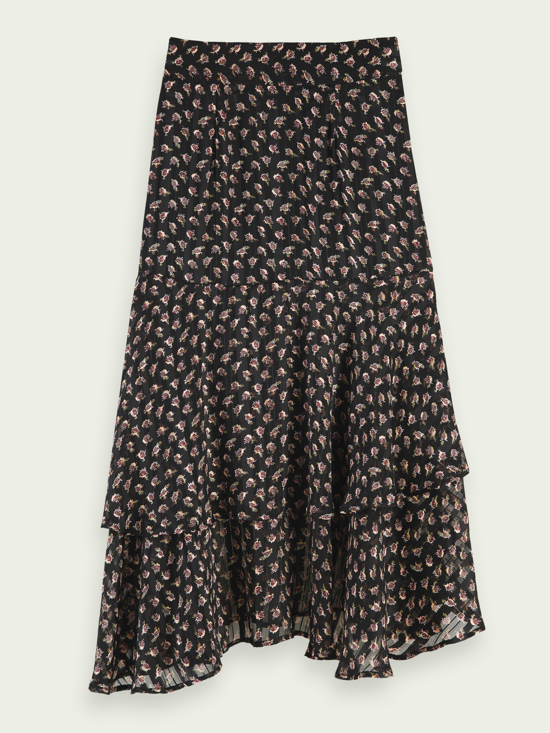 Kids Sheer stripe floral print midi skirt