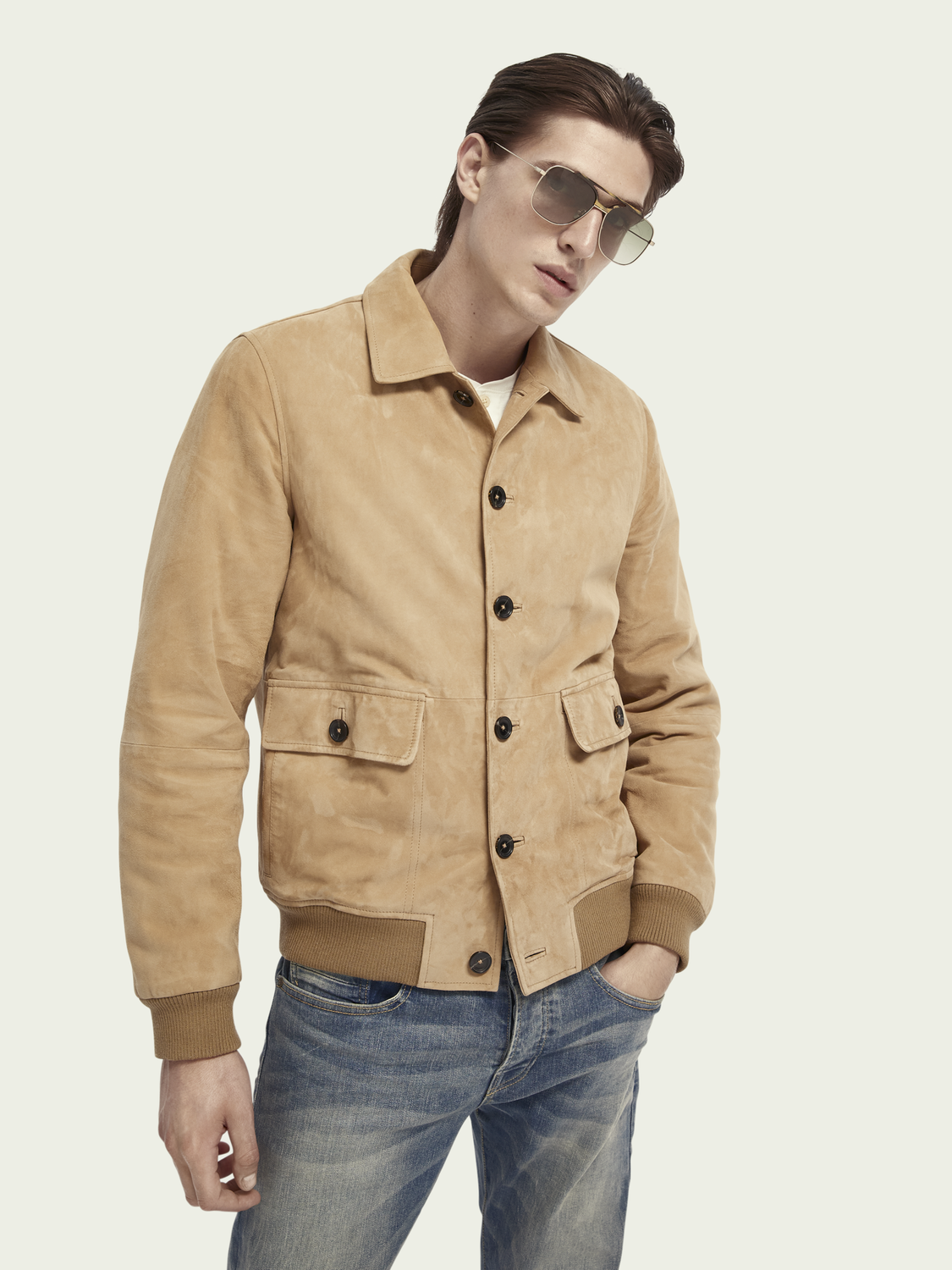 Men Pure suede bomber jacket