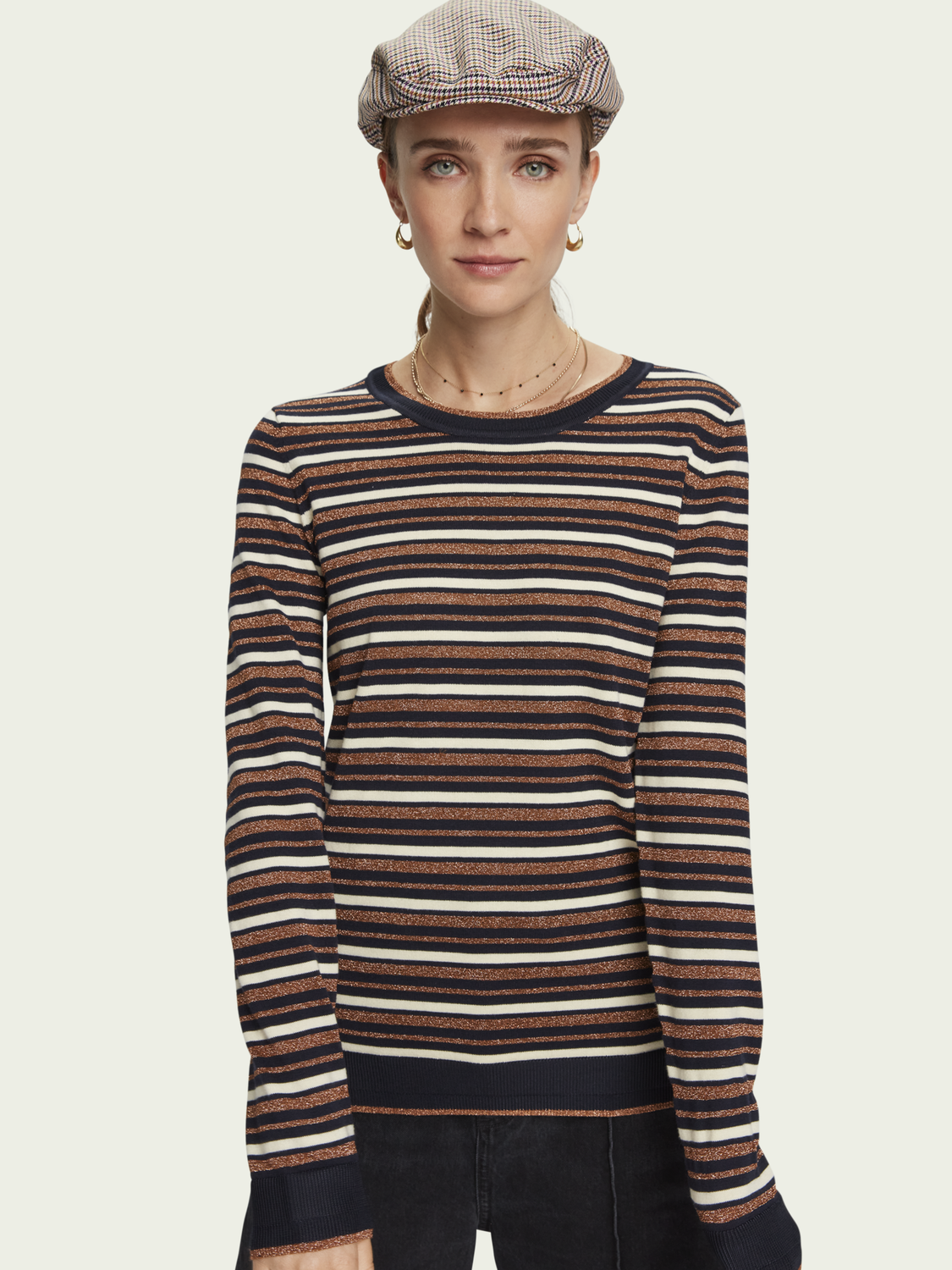 Women Metallic detail striped pullover