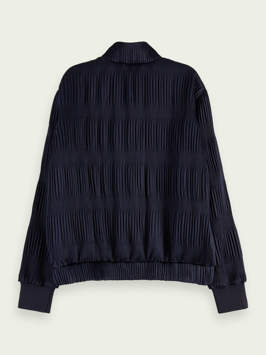 Women Pleated long sleeve bomber jacket