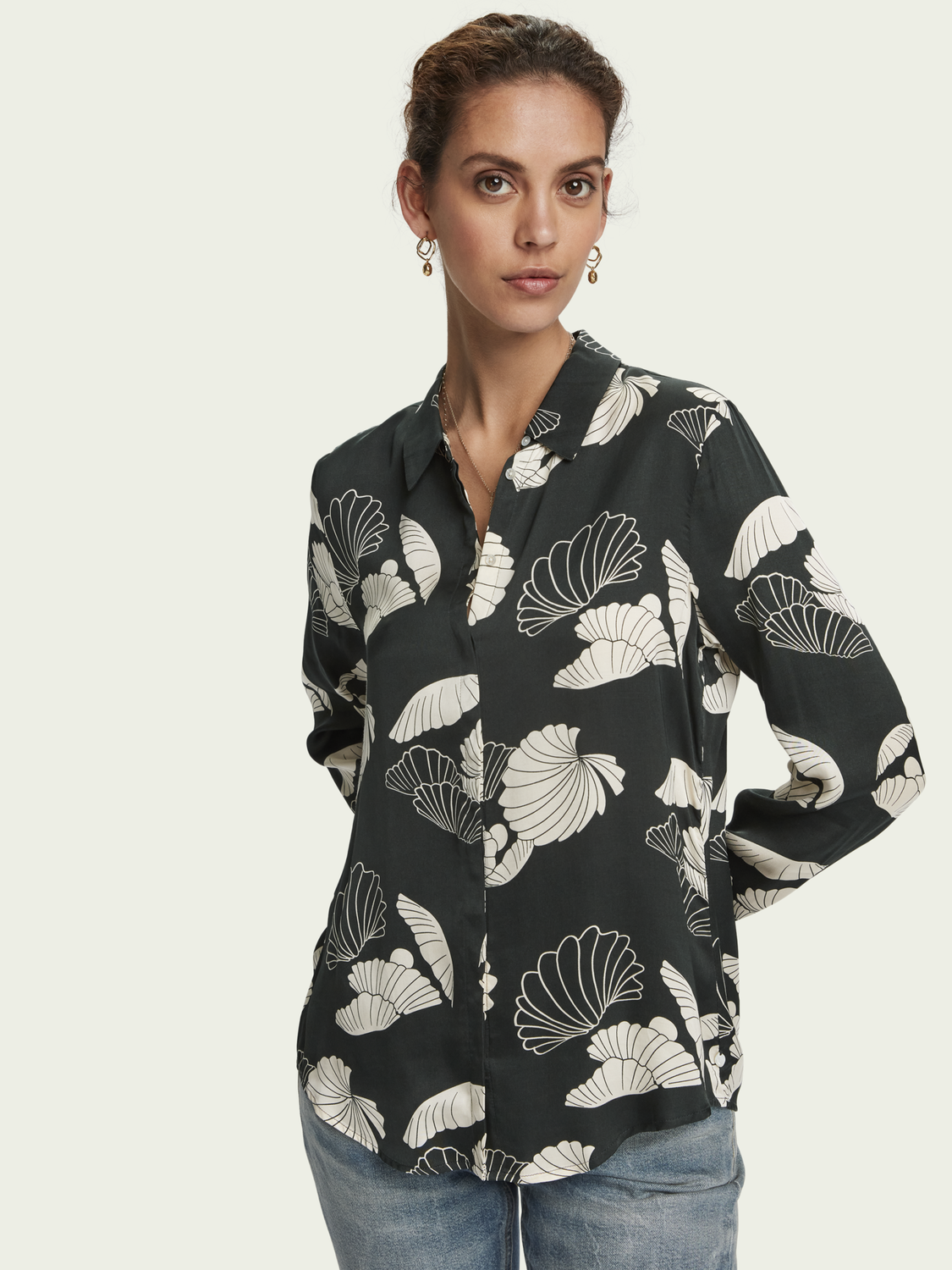 Women Printed long sleeve drapey shirt