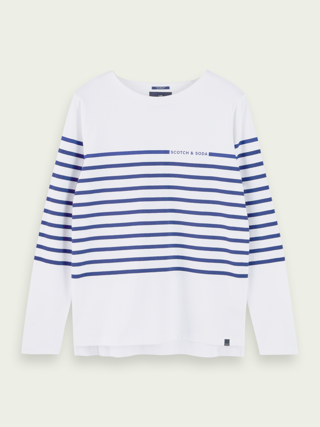 Men 100% cotton Breton stripe long sleeve t-shirt