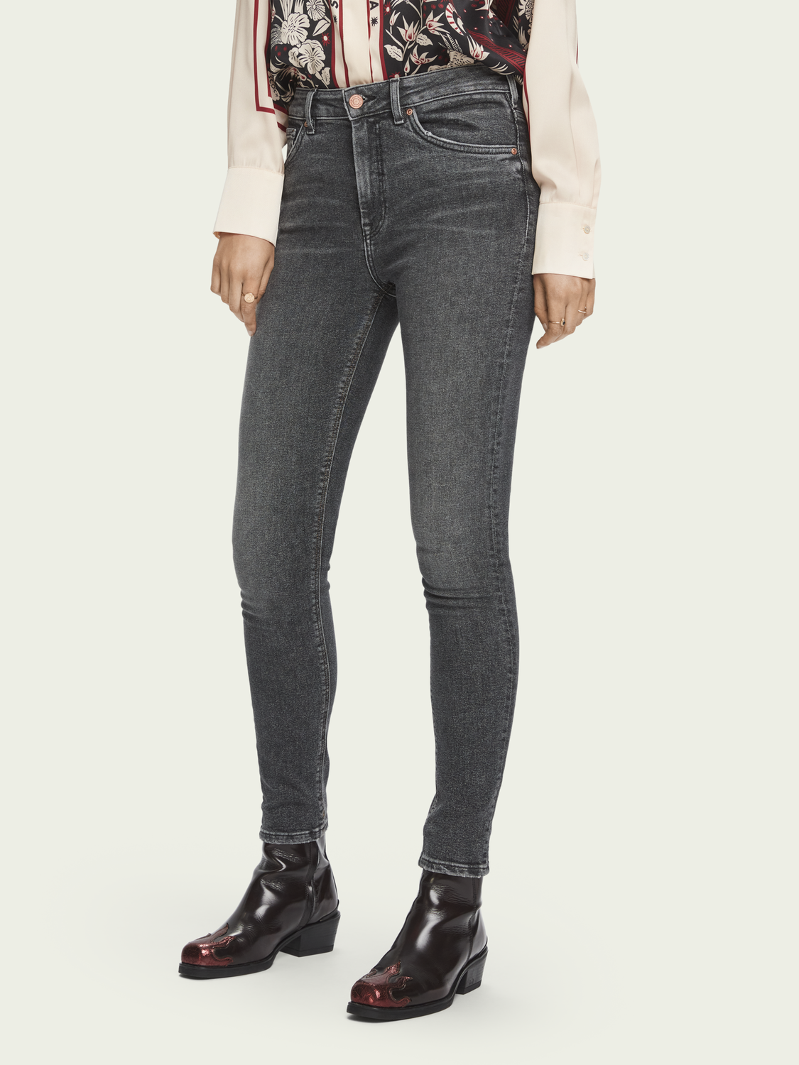 Damen Haut – Touch Of Dust | High-Rise Skinny Fit Jeans mit Stretchanteil